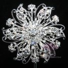 RHINESTONE CRYSTAL BRIDAL WEDDING CAKE FLOWER BOUQUET SILVER BROOCH PIN -CA