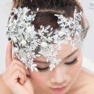 Bridal Wedding Forehead Rhinestone Crystal Tiara Hair Piece Lace Applique
