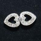 Rhinestone Crystal Two Hearts Wedding Bridal Wrap Closure Hook and Eye Clasp DIY