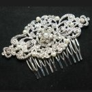 WEDDING BRIDAL RHINESTONE CRYSTAL FAUX PEARL SILVER RHOMBUS HAIR COMB - CA