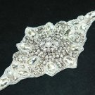 IRON/SEW PEARL CRYSTAL RHINESTONE WEDDING DRESS SASH DECORATION APPLIQUE -CA