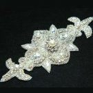 "6"" Vintage Style Arrow Head Rhinestone Crystal Pearl Bridal Ribbon Belt Applique"