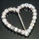 Lot of 6 Rhinestone Crystal Heart Wedding Invitation Ribbon Slider Belt Buckle