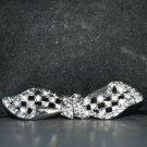 Ribbon Shape Rhinestone Crystal Wedding Bridal Closure Hook and Eye Clasp DIY