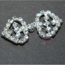 Two Hearts Rhinestone Crystal Wedding Bridal Wrap Closure Hook and Eye Clasp DIY