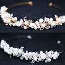 Bridal Wedding Pearl Clay Rose Rhinestone Crystal Gold Silver Hair Head Crown