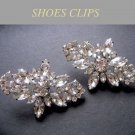Rhombus Rhinestone Crystal Silver Tone Wedding Bridal Shoe Clips Pair -EU