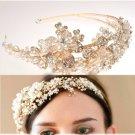 Gold Flower Bridal Wedding Tiara Pearls Beads Rhinestone Crystal Headband- EU