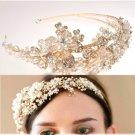 Gold Flower Bridal Wedding Tiara Pearls Beads Rhinestone Crystal Headband- CA