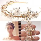 GOLD FLOWER BRIDAL WEDDING TIARA RHINESTONE CRYSTAL HAIR HEADBAND -CA