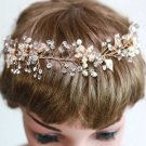 Gold Tone Faux Pearl Flower Leaves Wedding Vine Tiara Crystal Forehead Headband