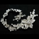 Lot of 4 Bridal Wedding Rhinestone Crystal Flower Sew Hair Sash Applique Chain