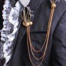 Black Gold Tassel Ribbon Smart Men Wedding Ascot Cravat Handmade Necktie Brooch
