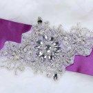"7"" Vintage Style Snowflake Snow Acrylic Beaded Bridal Ribbon Belt Applique"