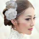 White Russian Wedding Bridal Birdcage Netting Veil with Ivory Flower Fascinator