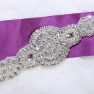 "6.3"" Circles Beaded Rhinestone Crystal Bridal Ribbon Belt Craft Applique"
