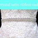 "0.75"" WHITE SATIN RIBBON CRYSTAL RHINESTONE WEDDING SASH BELT 3 YARDS"
