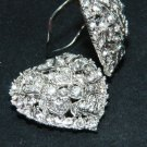 Clear Rhinestone Crystal Heart Shape Wedding Party Dance Shoe Clips Pair