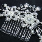 Silver Flower Bridal Wedding Faux Pearl Rhinestone Crystal Tiara Hair Comb