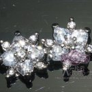 Lot of 4 Heart Austria Rhinestone Crystal Small Flower Sew Beads Flat Back
