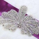 "6.8"" Plant Leaves Crystal Rhinestone Beaded Wedding Bridal Ribbon Belt Applique"