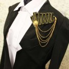 Punk Style Lady Men Wedding Party Gold Suit Zip Corsage Tassel Brooch Pin