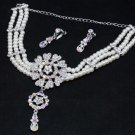 WEDDING RHINESTONE CRYSTAL IVORY FAUX PEARL CLIP EARRINGS NECKLACE SET