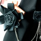 Handmade Mens Smart Ribbon Black Color Chain Tuxedo Bow Tie Brooch Pin