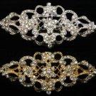 Rhinestone Crystal Rhombus Gold Silver Wedding Bridal Dress Sash Brooch Pin