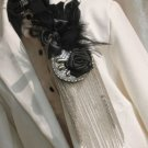 Black Feather Tassel Smart Men Wedding Party Ascot Cravat Rose Necktie Brooch