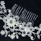 Rhinestone Crystal Faux Pearl Flower Blossom Wedding Bridal Hair Comb -CA