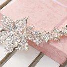 Large Flower Faux Pearl Rhinestone Crystal Wedding Bridal Long Hair Comb -CA