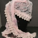 Vintage Style Pink Rabbit Fur Chiffon Rose Flower Lace Triangle Scarf Wrap -CA