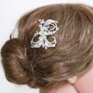 Silver Flower Plaint Ribbon Rhinestone Crystal Wedding Bridal Hair Comb -CA