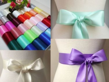 "3 Yards 2"" Colour Single Faced Bridal Wedding Angle Cut Polyester Sash Ribbon"