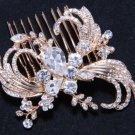 Golden Flower Plaint Ribbon Rhinestone Crystal Wedding Bridal Hair Comb -CA