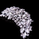 Large Vintage Style Wedding Bridal Flower Marquise Rhinestone Crystal Brooch Pin
