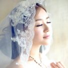 Vintage Style Lace Sequin White/Ivory Wedding Bridal 2 Tiers with Comb Veil -CA