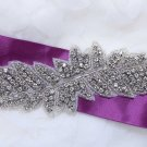 "7"" Leaves Leaf Rhinestone Crystal Acrylic Beaded Wedding Sash Craft Applique DIY"