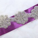1 Trim Motif Flowers Rhinestone Crystal Beaded Wedding Sash Belt Applique -EU