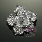 LOT OF 3 WEDDING RHINESTONE CRYSTAL ROSE FLOWER WEDDING DECORATION BROOCH PIN