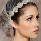 Classic Ivory Ribbon Crystal Rhinestone Beaded Applique Wedding Headband -CA