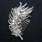 Elegant Feather Bridal Wedding Bride Silver Big Rhinestone Crystal Hair Comb -CA