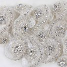 Circle Crystal Rhinestone Wedding Sash Headband Long Trimmed Applique DIY Trim