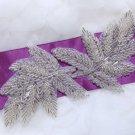 Lot Of 2 Leaves Leaf Hair Head Acrylic Beaded Wedding Sash Craft Applique DIY