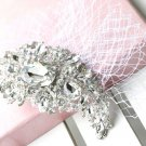 LARGE MOON WEDDING BRIDAL RHINESTONE CRYSTAL NET MASK SILVER HAIR CLIP PIN