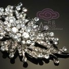 CLEAR /AURORA PURPLE RHINESTONE CRYSTAL WEDDING BRIDAL HAIR SILVER BROOCH PIN