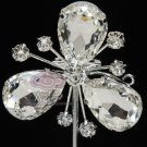 3 Petals Bouquet Flower Shaped Corsage Clear Rhinestone Crystal Brooch Pin
