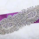 "8.3"" Vintage Style Grand Rhinestone Beaded Faux Pearl Wedding Bridal Applique"