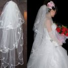 Classic 3 Tiers Wedding Bridal Organza Off White Flowers Tulle Veil with Comb